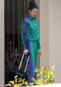Kendall Jenner spotted in a green and purple tracksuit during an Adidas photoshoot in Los Angeles