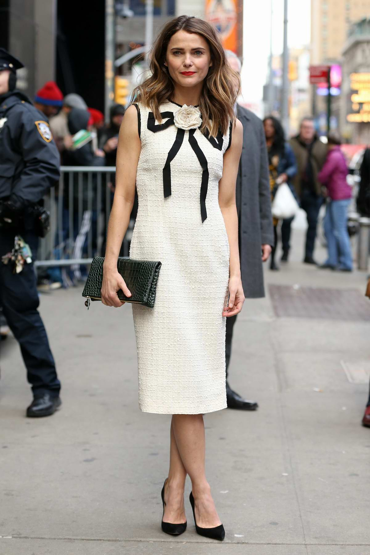 Keri Russell looks stunning in white as she arrives at the Good Morning America in New York City