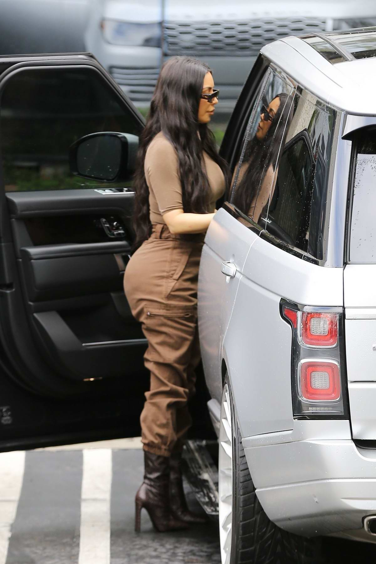 Kim Kardashian spotted in a brown outfit as she arrives to attend church services in Calabasas, California