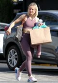 Kristen Bell hits the gym in a mauve crop top with matching leggings and trainers in Los Angeles