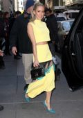 Kristin Cavallari seen wearing a a yellow dress as she leaves Today show in New York City