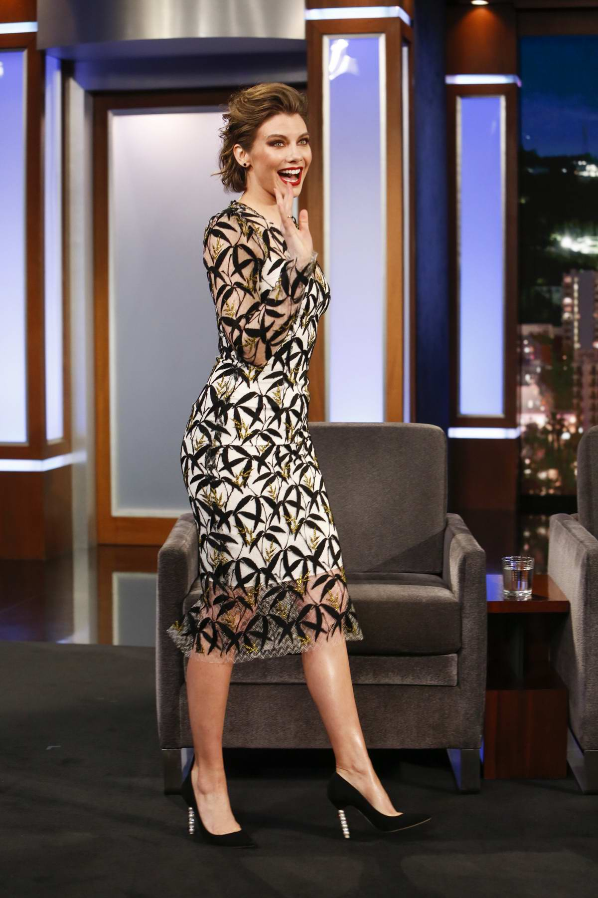 Lauren Cohan makes an appearance on 'Jimmy Kimmel Live!' in Los Angeles