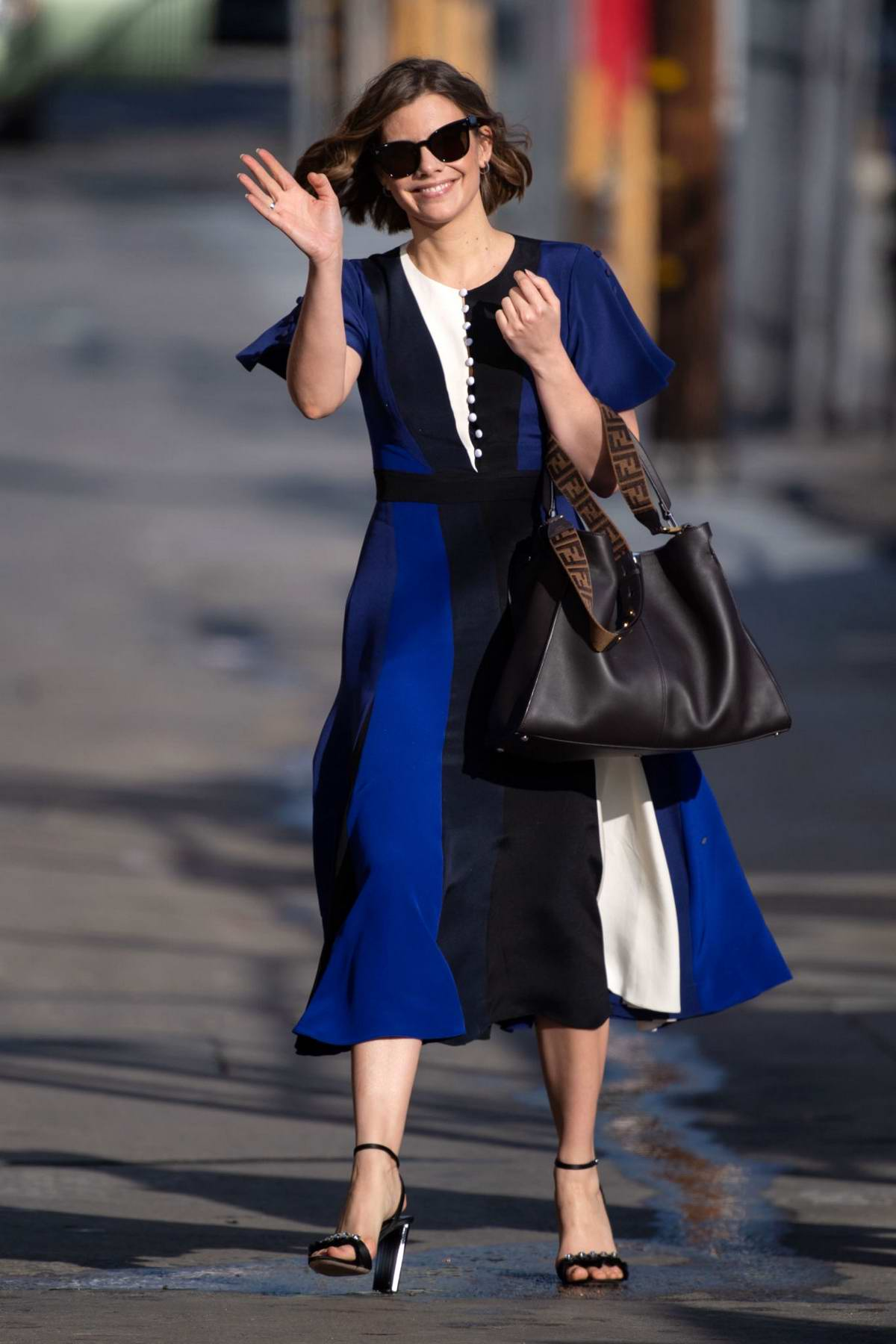 Lauren Cohan waves for the camera as she arrives for her appearance on Jimmy Kimmel Live! in in Los Angeles