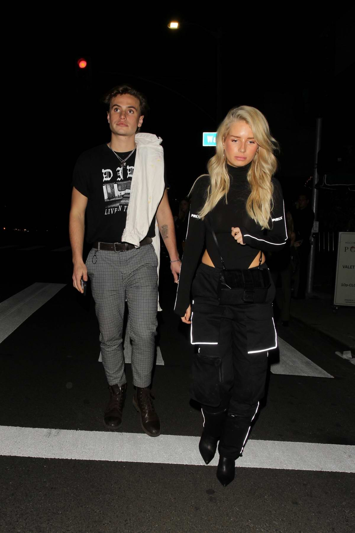 Lottie Moss and Daniel Mickelson spotted leaving Poppy nightclub in West Hollywood, Los Angeles