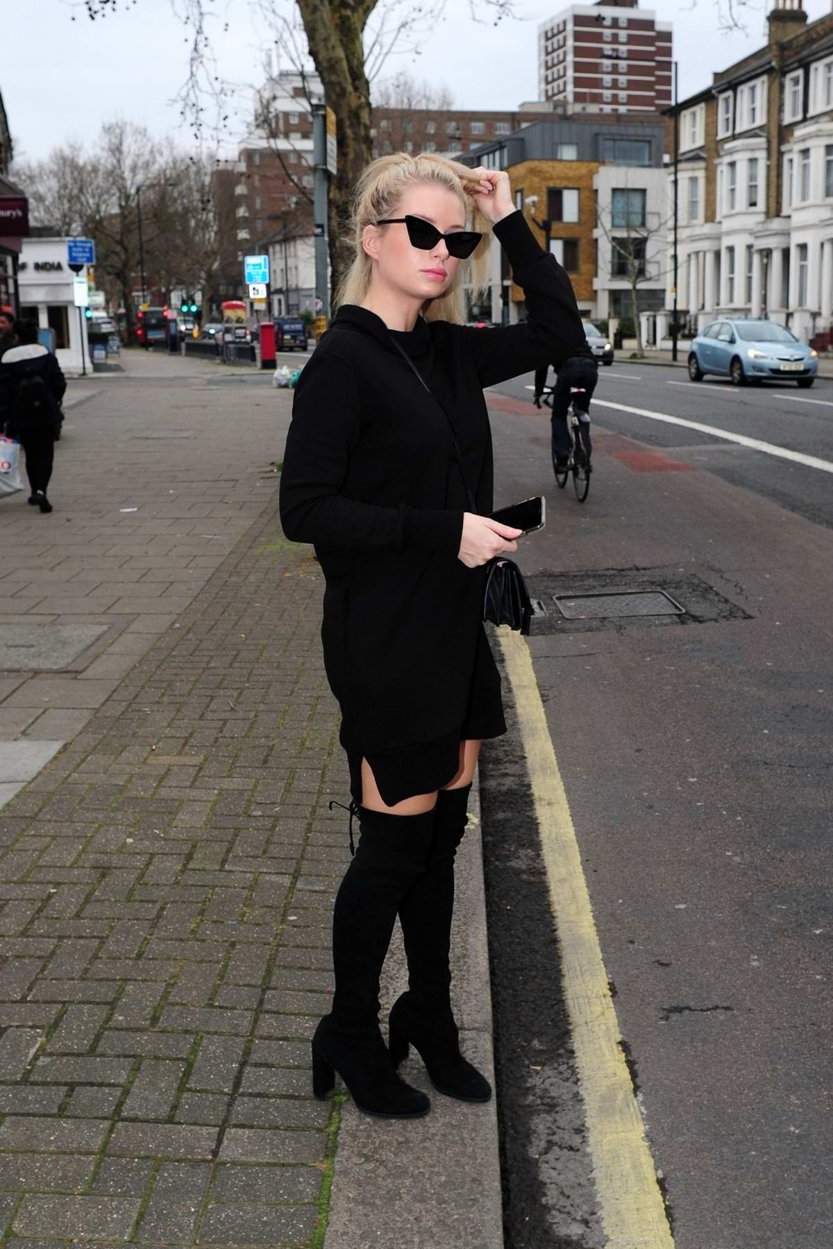 Lottie Moss dressed in all black as she leaves the cosmetic clinic 'Dermadoc' in London, UK