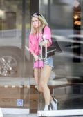 Lottie Moss steps out for some shopping wearing a pink shirt and denim short in Los Angeles
