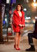 Lucy Hale looks pretty in red while filming scenes on set of Riverdale spinoff 'Katy Kenee' in New York City