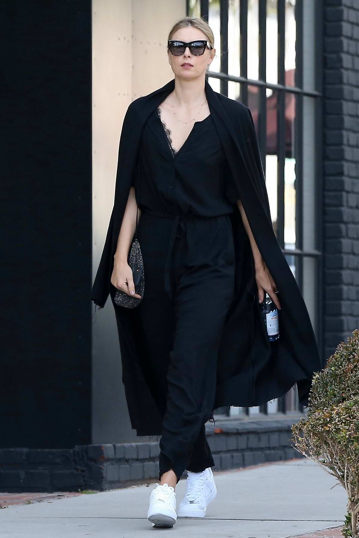 Maria Sharapova looks gorgeous in black as she steps out for shopping in West Hollywood, Los Angeles