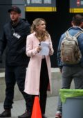 Melissa Benoist spotted in a light pink coat while on the set of 'Supergirl' in Vancouver, Canada