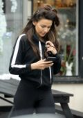 Michelle Keegan steps out in a black hoodie and leggings in Brentwood, Essex, UK