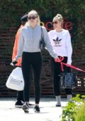 Miley Cyrus catches up with mom Tish over lunch at SunCafe in Studio City, Los Angeles