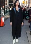 Morena Baccarin is all smiles as she poses for pictures as she leaves AOL's Build Series in New York City