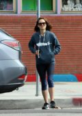 Natalie Portman wore a hoodie and leggings as she stepped out to pick up lunch in Los Feliz, California