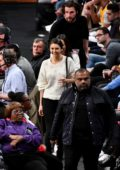 Nina Dobrev and Grant Mellon seen at a basketball game between the Lakers and the Wizards at Staples Center in Los Angeles