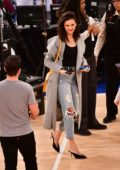 Nina Dobrev seen courtside at the Cleveland Cavaliers v New York Knicks game at Madison Square Garden in New York City