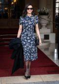 Nina Dobrev steps out in a navy blue floral print dress during Paris Fashion Week F/W 2019 in Paris, France