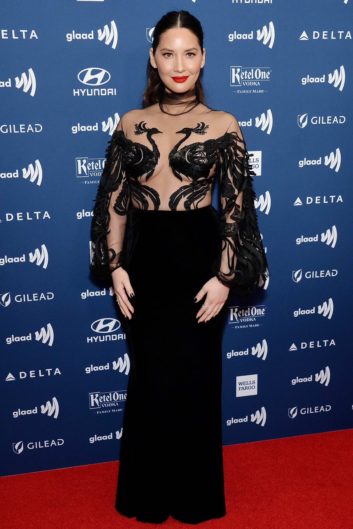 Olivia Munn attends the 30th Annual GLAAD Media Awards at The Beverly Hilton Hotel in Beverly Hills, California