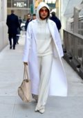 Priyanka Chopra stepped out in head to toe white and cream with rose-tinted sunglasses in New York City
