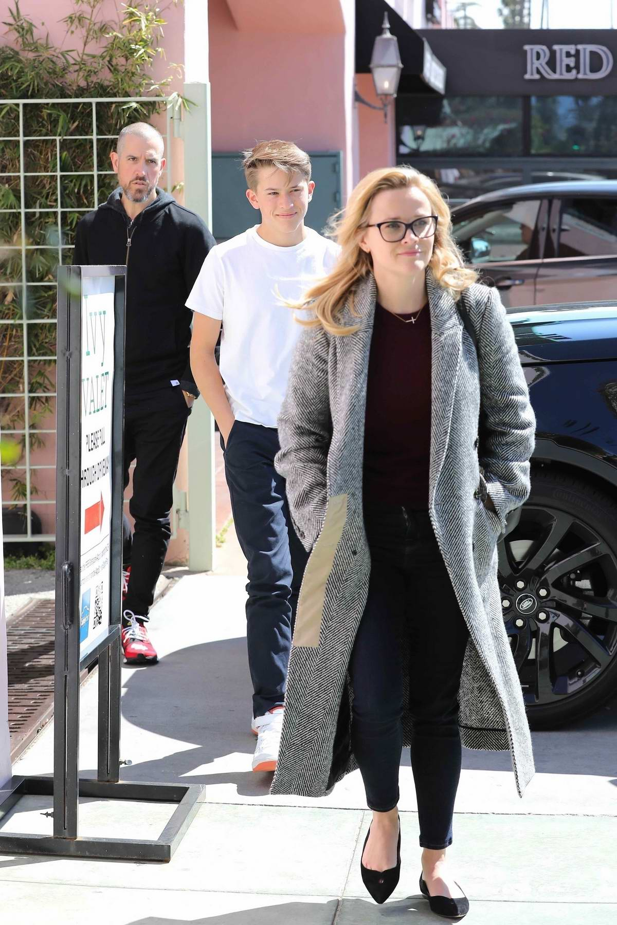 Reese Witherspoon makes a stop at her movie set before heading off to lunch with son Deacon Phillippe and husband Jim Toth in Los Angeles