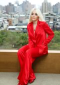 Rita Ora rocks bright red ensemble during an interview before the Rita Ora Phoenix 2019 Live concert in Taipei, Taiwan