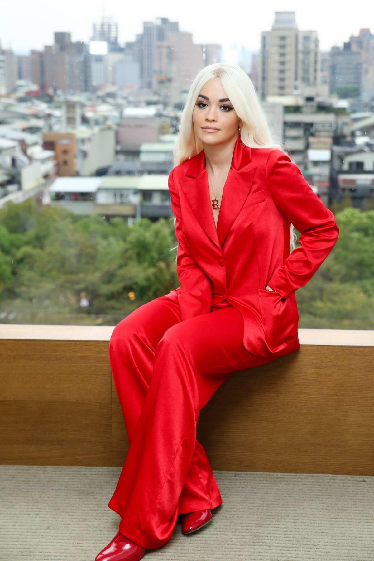 Rita Ora rocks bright red ensemble during an interview before the Rita Ora Phoenix 2019 Live concert in Taipei, Taiwan