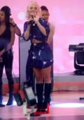 Rita Ora spotted in a short blue dress as she gets prepared to perform on the 'Today' show in New York City