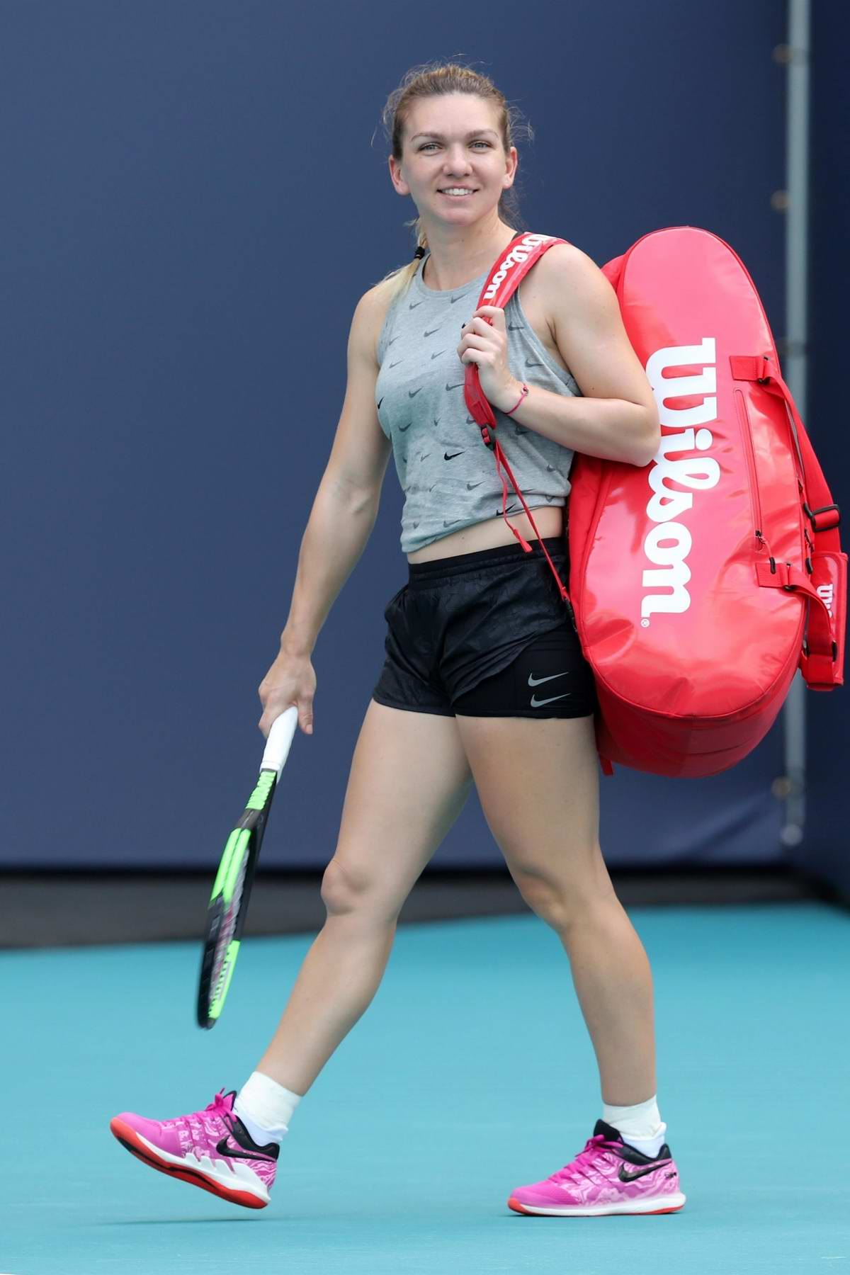 Simona Halep spotted on the practice court prior to the start of the Miami Open Tennis Tournament at Hard Rock Stadium in Miami, Florida