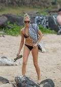 Stephanie Pratt wears a black bikini during a beach day in Hawaii