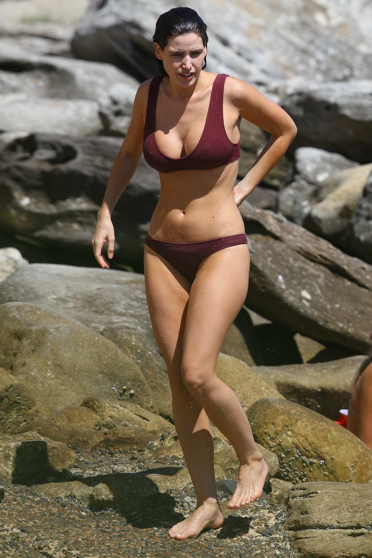 Tahnee Atkinson spotted in a bikini as she enjoys a swim at Bondi beach in Sydney, Australia