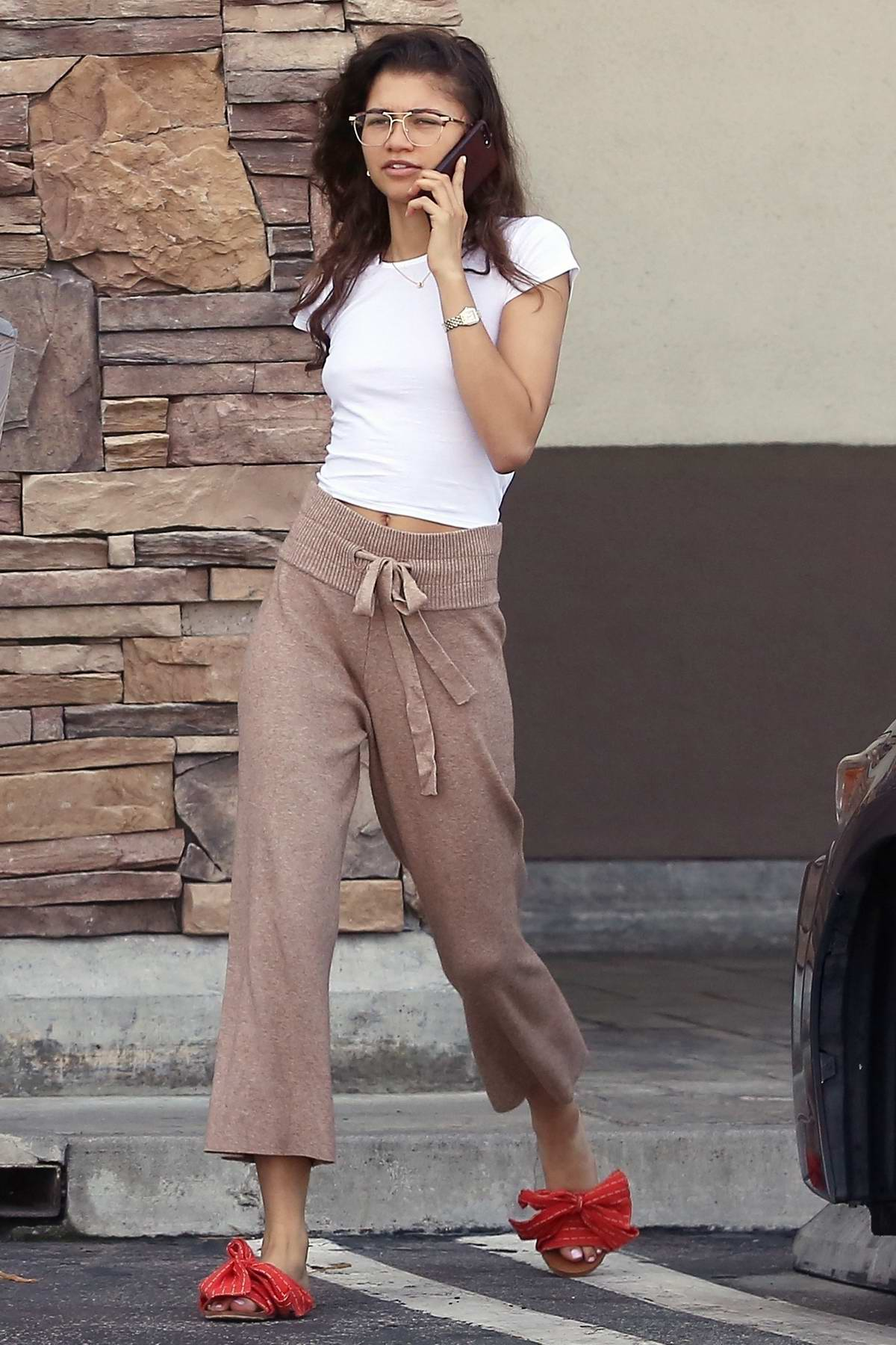 Zendaya keeps it casual during a shopping trip to Lowe's and Micheal's art supplies store in Los Angeles