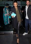 Zoe Saldana enjoys dinner with her mother and sister at Madeo in Beverly Hills, Los Angeles