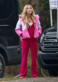 Zoey Deutch looks pretty in pink on the set for 'Zombieland: Double Tap' in Atlanta, Georgia