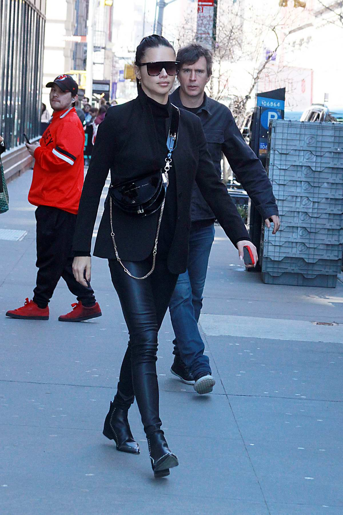 Adriana Lima steps out in all black in New York City