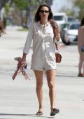 Alessandra Ambrosio dons a white romper and leather sandals as she leaves a yoga studio in Los Angeles