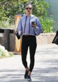 Alessandra Ambrosio grabs a post-workout coffee as she leave the gym in Malibu, California