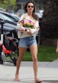 Alessandra Ambrosio looks lovely in a floral print sweater and denim shorts while visiting a nail Salon in Santa Monica, California