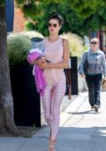 Alessandra Ambrosio looks pretty in pink as she heads to a yoga class in Brentwood, Los Angeles