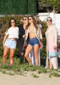 Alessandra Ambrosio spotted at a beach party with friends in Malibu, California