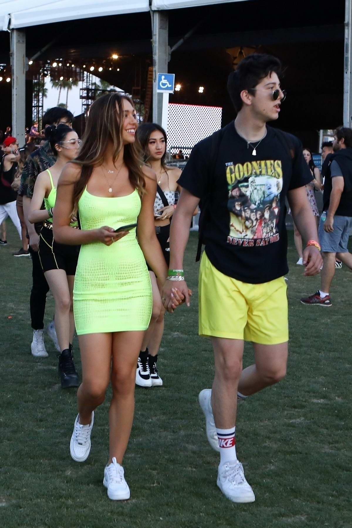 Alexis Ren and Milo Manheim arrive for an evening of fun at Coachella in Indio, California