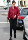 Amanda Crew stops for coffee while shopping in Studio City, Los Angeles
