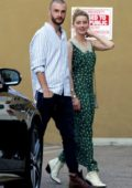 Amber Heard looks pretty in a long green dress as she leaves Mantee Cafe in Studio City, Los Angeles