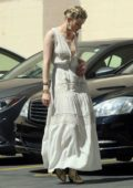 Amber Heard steps out in a white maxi dress for a business meeting in Downtown Los Angeles