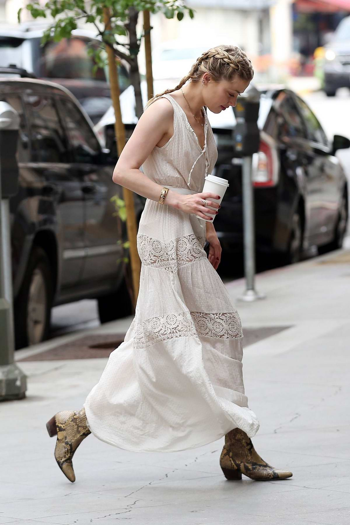 Amber Heard Steps Out In A White Maxi Dress For A Business Meeting