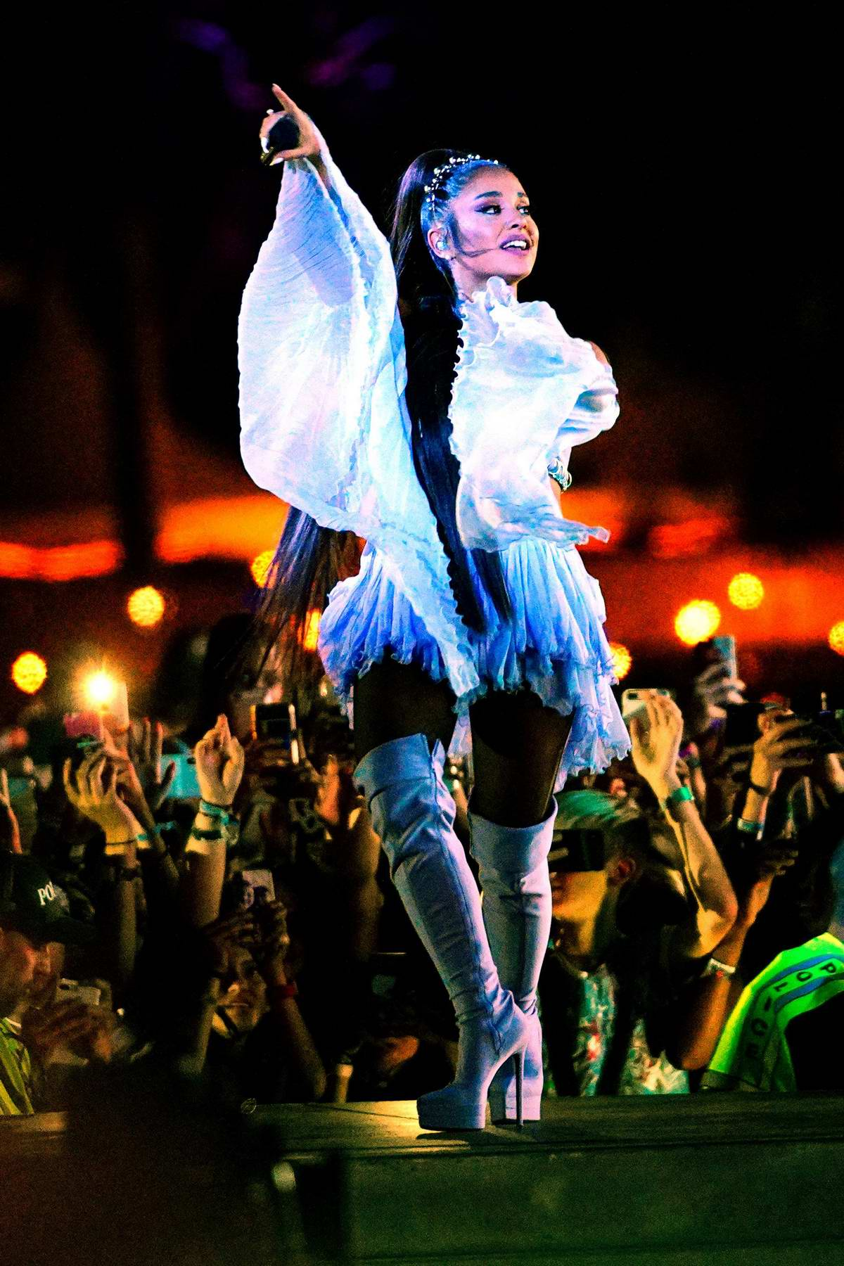 Ariana Grande performs onstage at Coachella Valley Music and Arts Festival in Indio, California