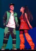 Ariana Grande performs onstage with Justin Bieber during 2019 Coachella Valley Music & Arts Festival in Indio, California