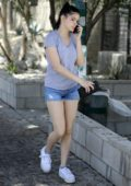 Ariel Winter rocks a grey tee and denim short shorts while out in Los Angeles