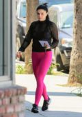 Ariel Winter sports hot pink leggings and a sheer top for a trip to the studio in Los Angeles