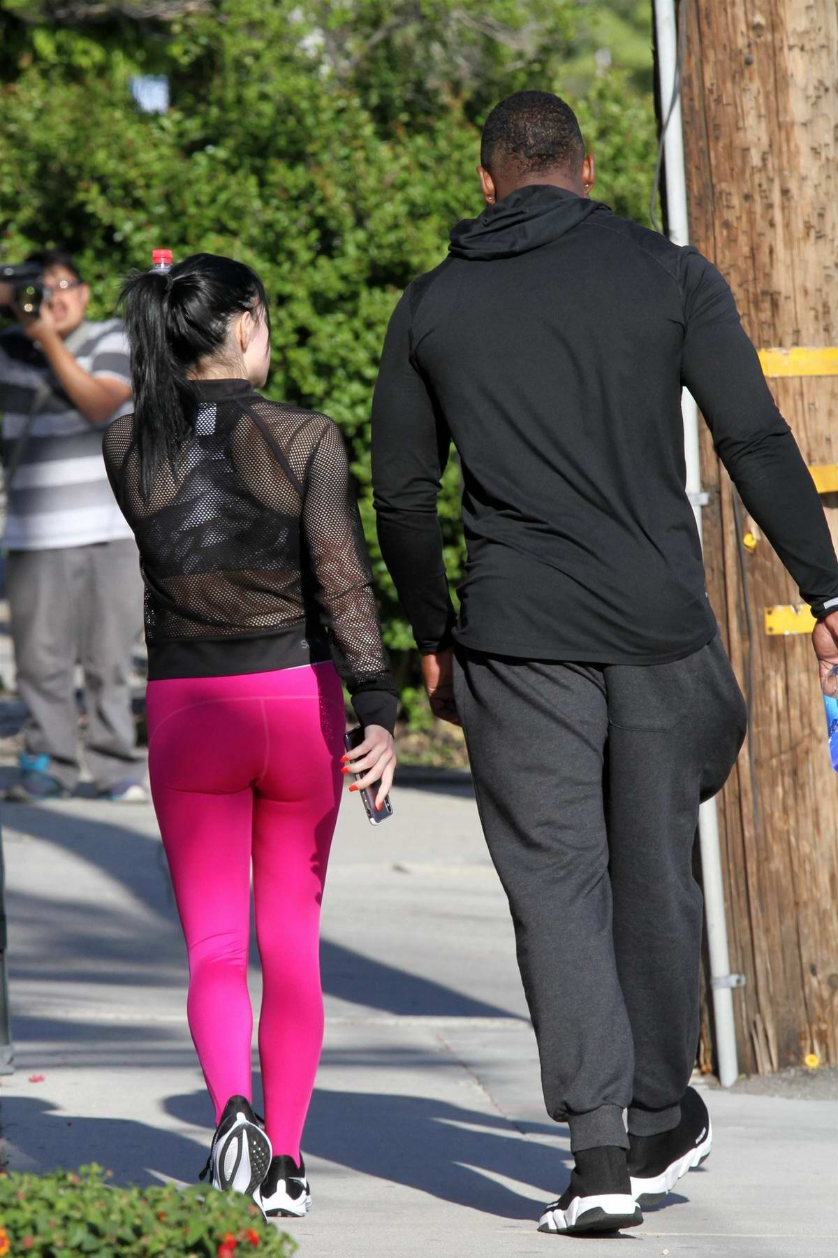 28a7ae6429cccf ariel winter sports hot pink leggings and a sheer top for a trip to the  studio in los angeles-100419_11