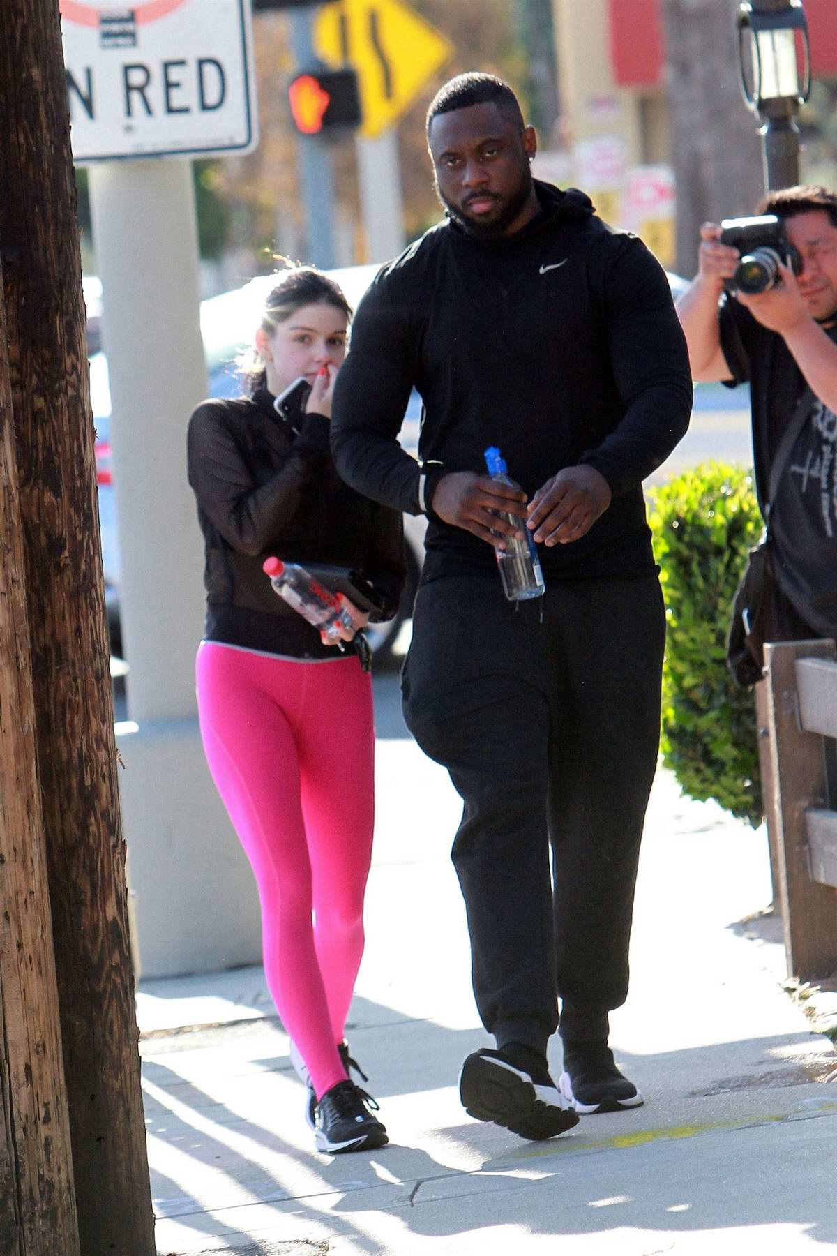 49044d69b77b71 ariel winter sports hot pink leggings and a sheer top for a trip to the  studio in los angeles-100419_12