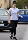 Ariel Winter steps out in a white tee and black leggings to run errands in Studio City, Los Angeles